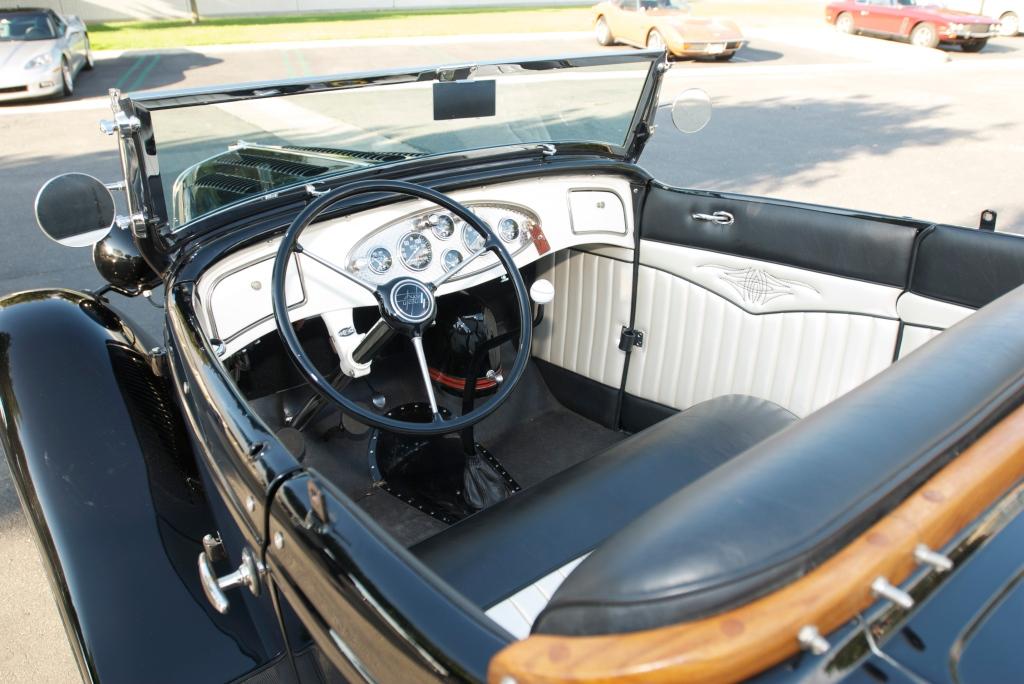 Black 1932 Ford roadster_ Interior_Cars&Coffee/Irvine_12/17/11
