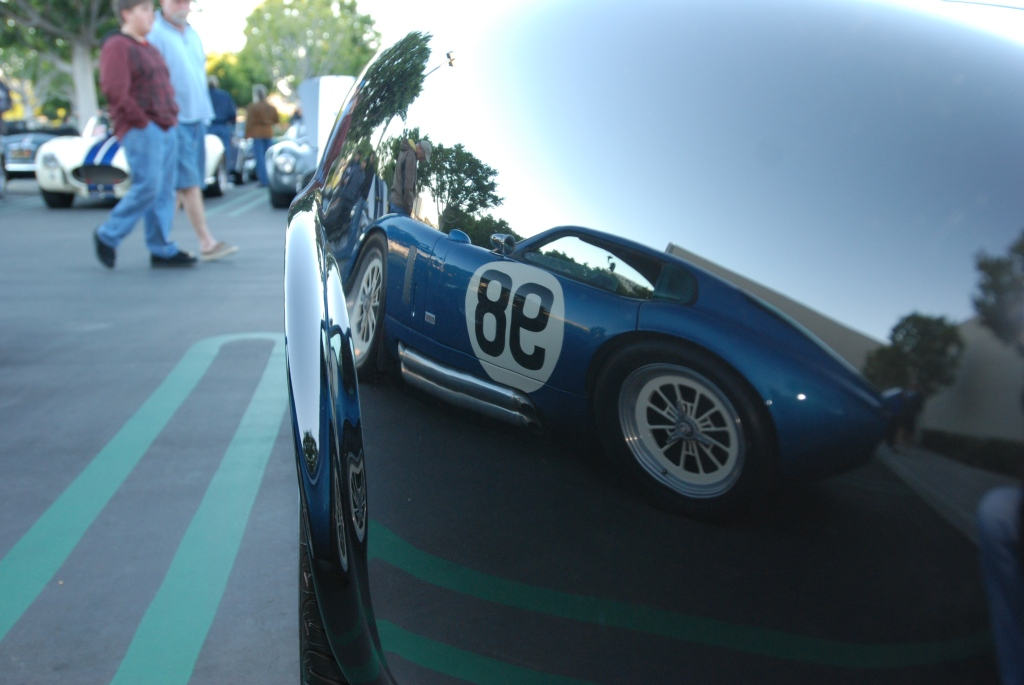 Cobra Daytona coupe reflected in the fender of a cobra roadster_Cars&Coffee/Irvine_2011