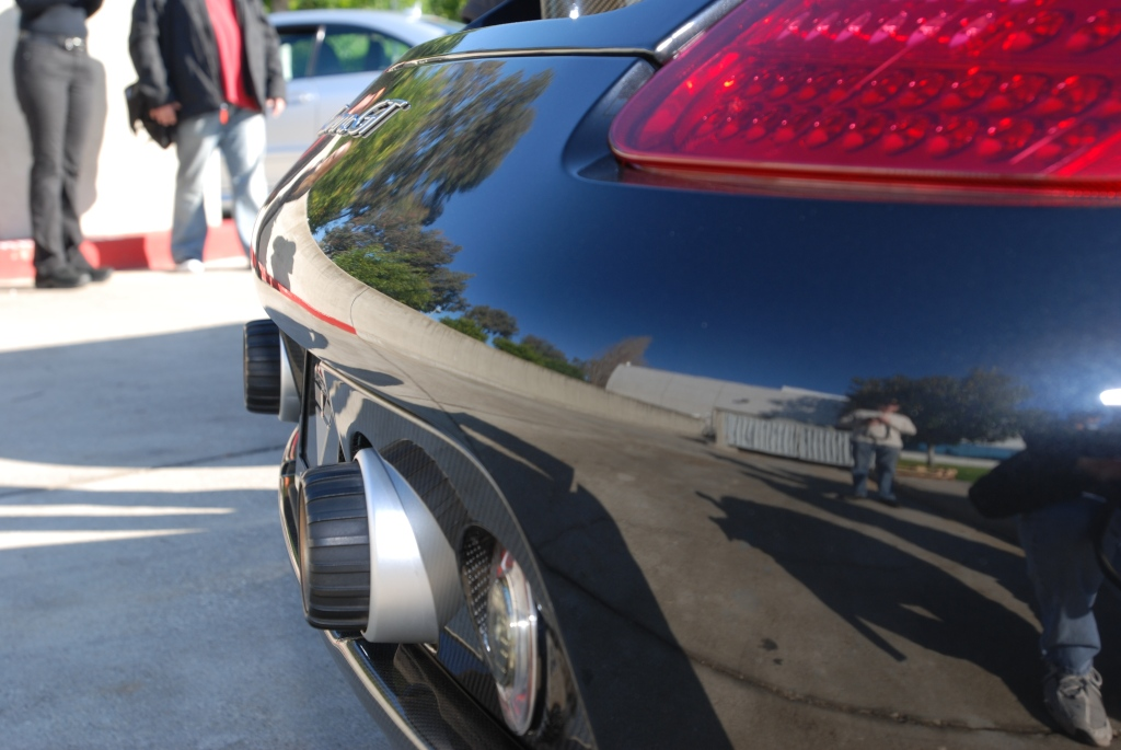 Black Porsche Carrera GT _rear reflections_Cars&Coffee/Irvine_2011