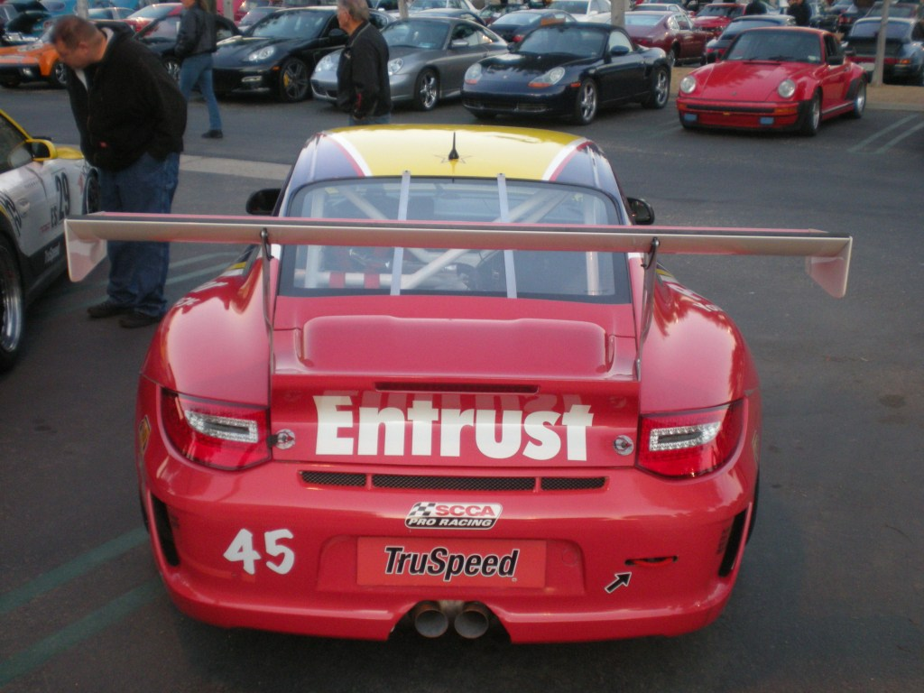 Truspeed /Privacy Star #45, Porsche GT3 cup car_rear wing_Cars&Coffee/Irvine_12/10/11
