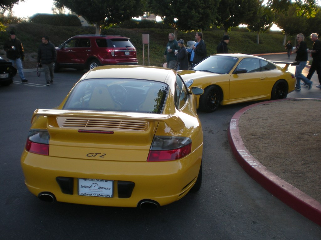 Speed yellow Porsche 996's - GT3 and 2003 GT2_Cars&Coffee/Irvine_12/10/11