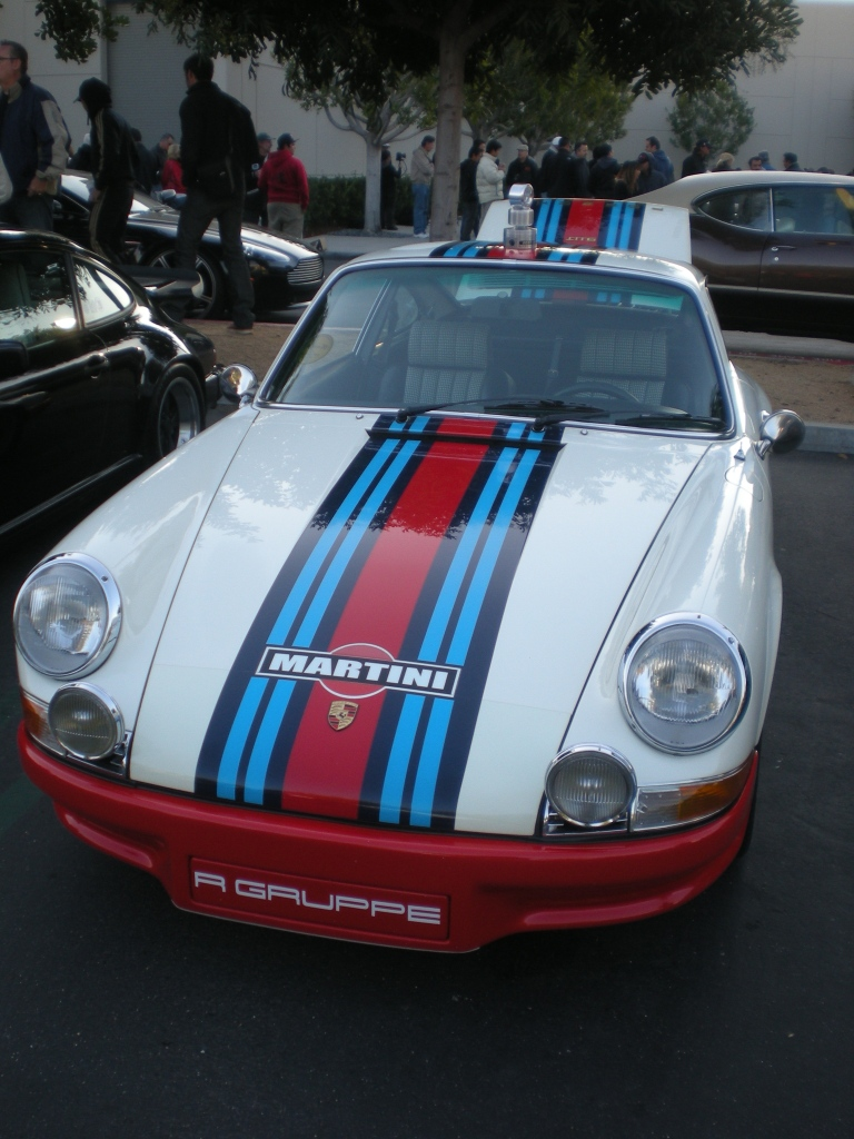 White 1970 Porsche 911 w/Martini stripes & trophy_Cars&Coffee/Irvine_12/10/11