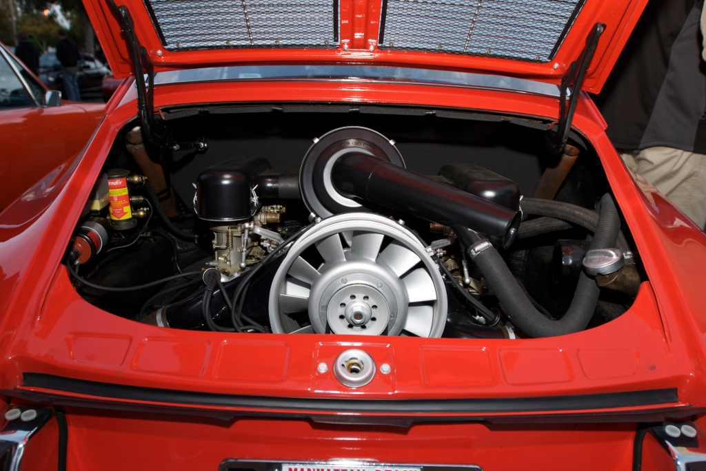 Polo red 1966 Porsche 911_engine detail_Cars&Coffee.Irvine-1/14/12