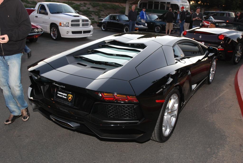 gloss black Lamborghini Aventador_Cars&Coffee/Irvine_1/28/12
