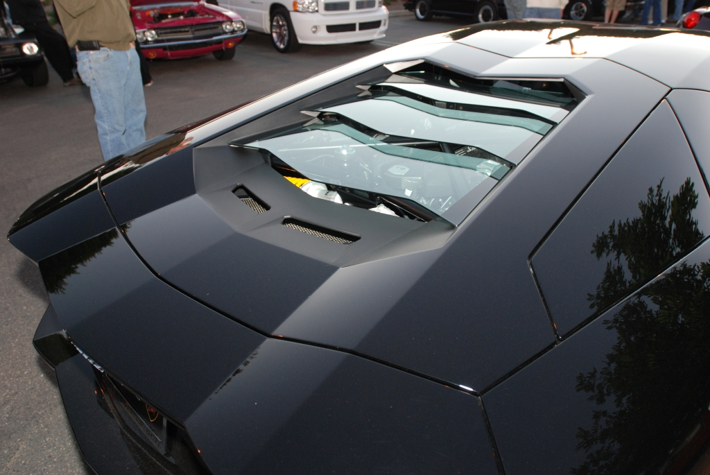 gloss black Lamborghini Aventador_rear glass louvers_Cars&Coffee/Irvine_1/28/12