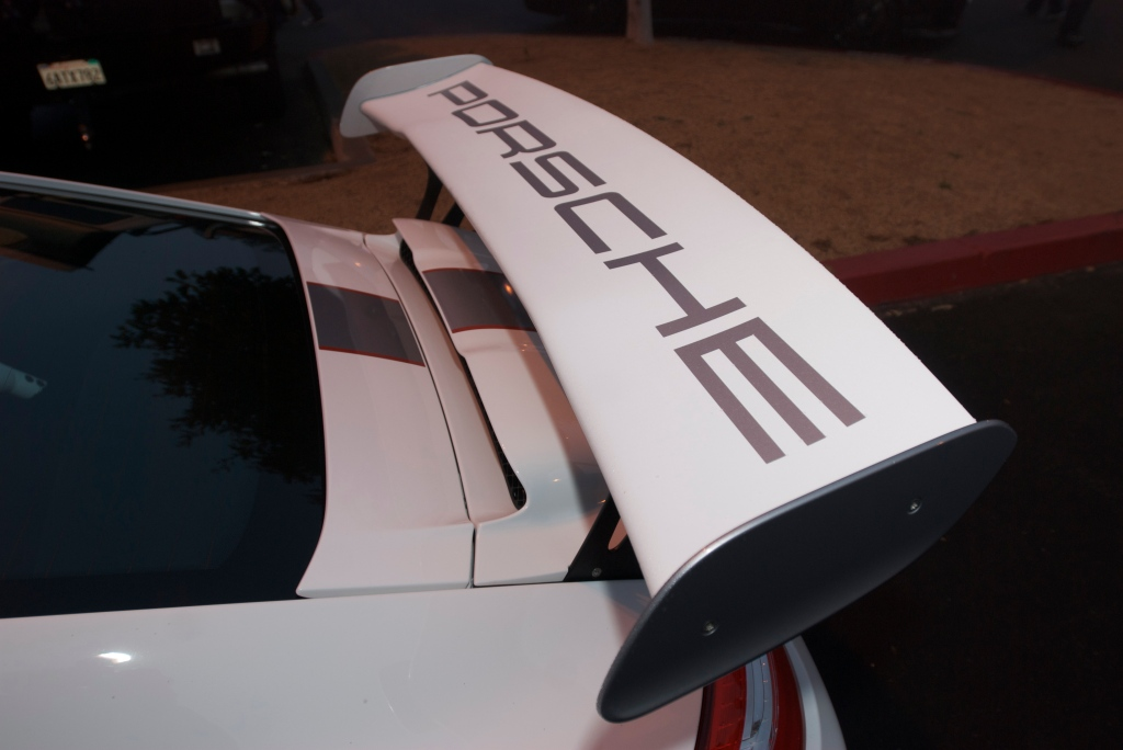 White 2011 Porsche GT3RS 4.0_rear wing_Cars&Coffee/Irvine_12/31/11