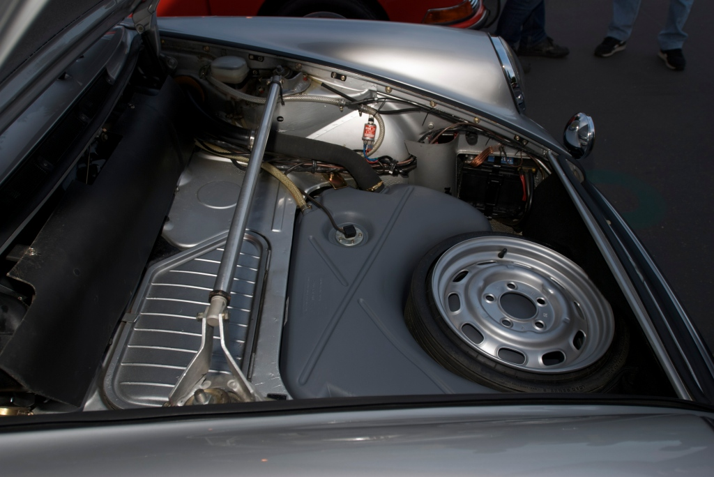 Silver european spec 1973 Porsche 911S_front trunk_Cars&Coffee/Irvine_1/14/12