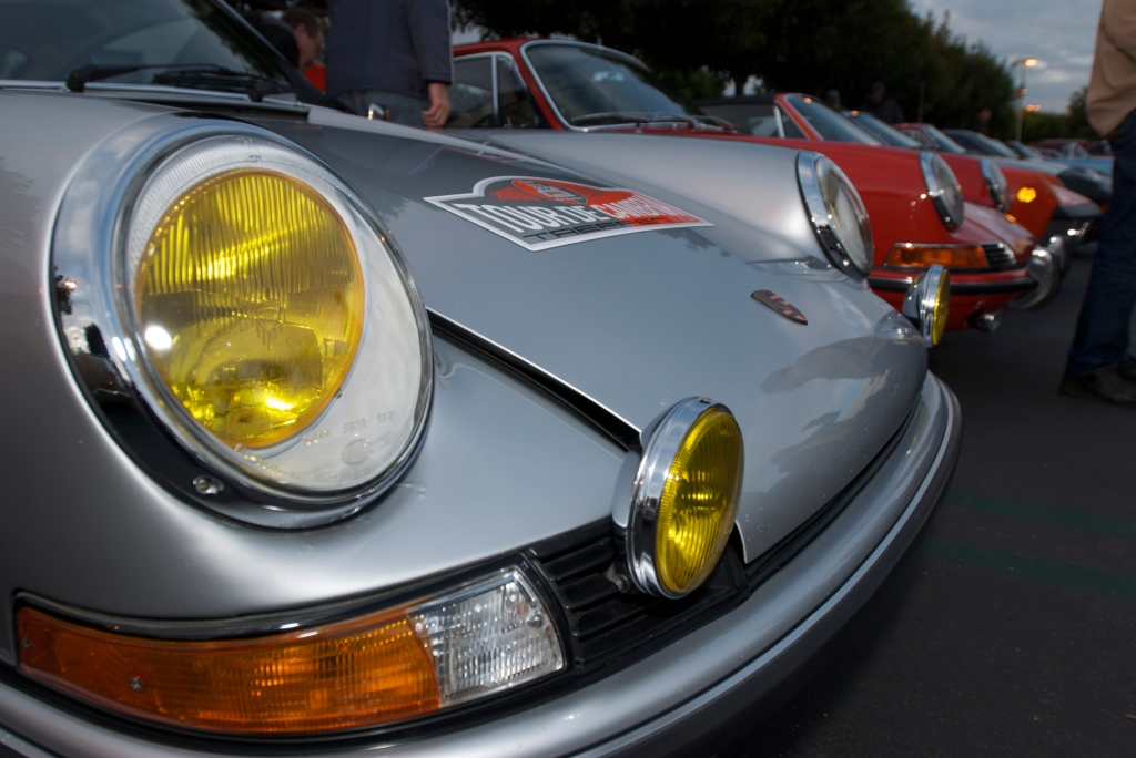 Silver european spec 1973 Porsche 911S_amber headlights & fog lights_Cars&Coffee/Irvine_1/14/12