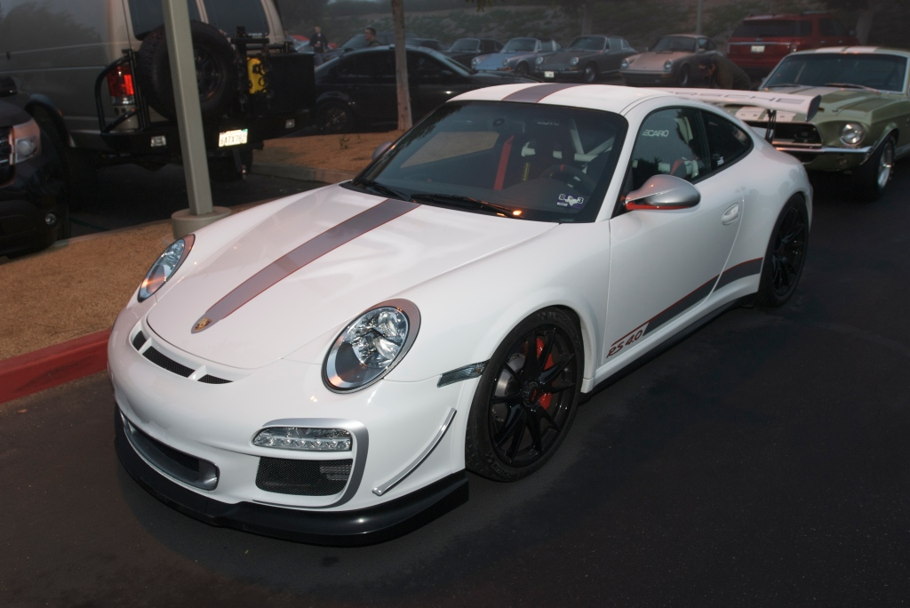 White 2011 Porsche GT3RS 4.0_fog bound_Cars&Coffee/Irvine_12/31/11