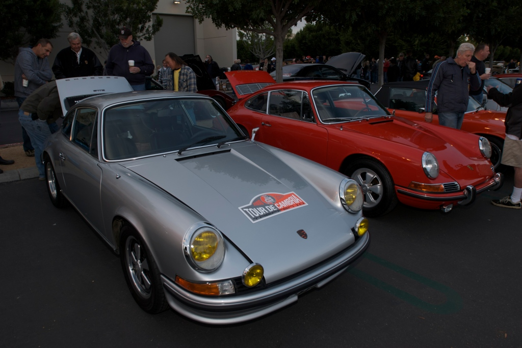 Silver European spec 1973 Porsche 911S & Polo Red 1966 911_Cars&Coffee/Irvine_1/14/12