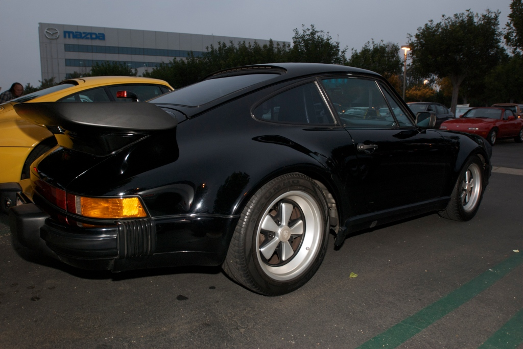 Black Porsche 930 turbo_w/reflections_Cars&Coffee/Irvine_1/7/12