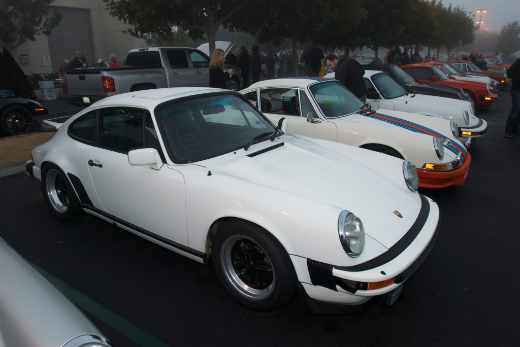 Porsche row in the fog_Cars&Coffee/Irvine_12/31/11