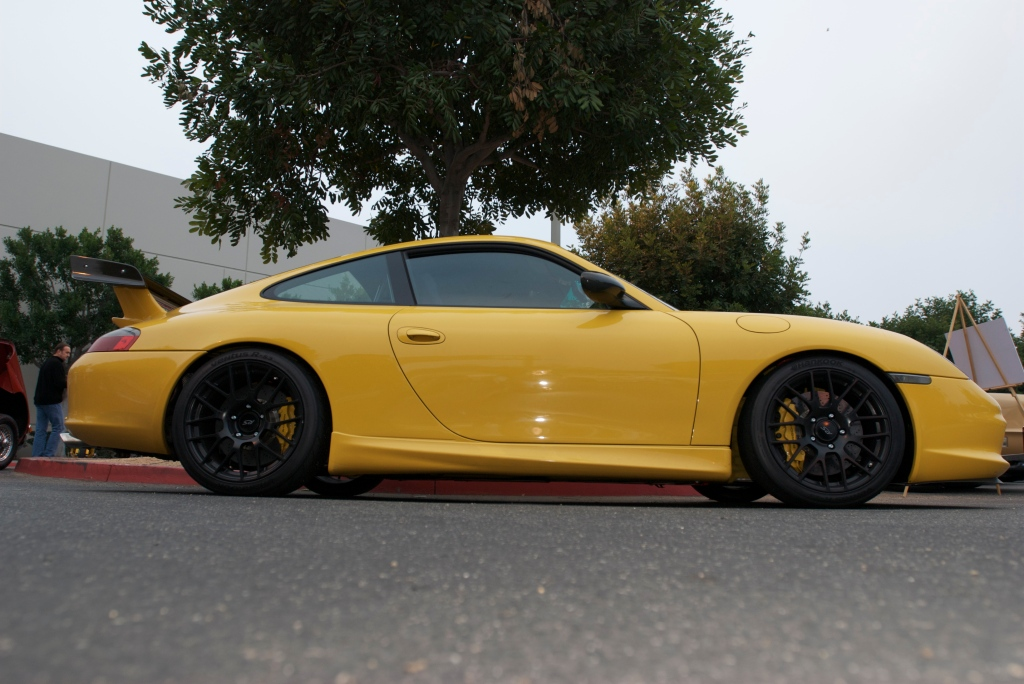 Speed yellow Porsche 996 GT3_Cars&Coffee/Irvine_1/7/12