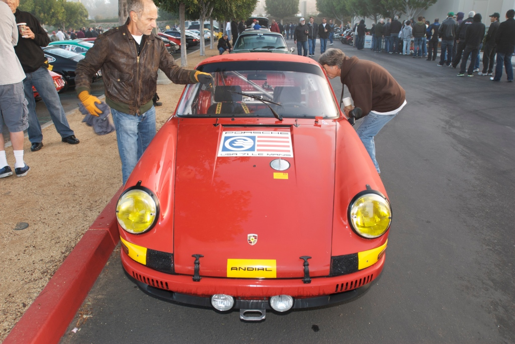 Ex-Ritchie Ginther_red early model Porsche 911S_Le Mans race car_Cars&Coffee/Irvine_12/31/11
