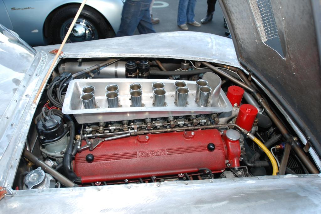 Vintage ferrari roadster under restoration_12 cylinder motor_Cars&Coffee/Irvine_1/28/12