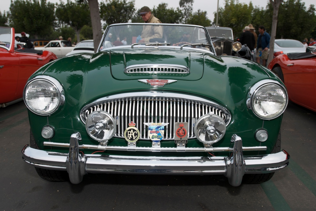 British racing green Austin Healey 3000 MK III_front end w /grill badges_Cars&Coffee/Irvine_1/7/12