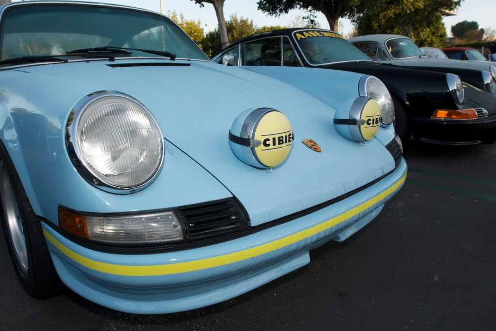 Porsche 911 w/ST theming_w/hood mounted Cibie driving lights_Cars&Coffee/Irvine_12/31/11