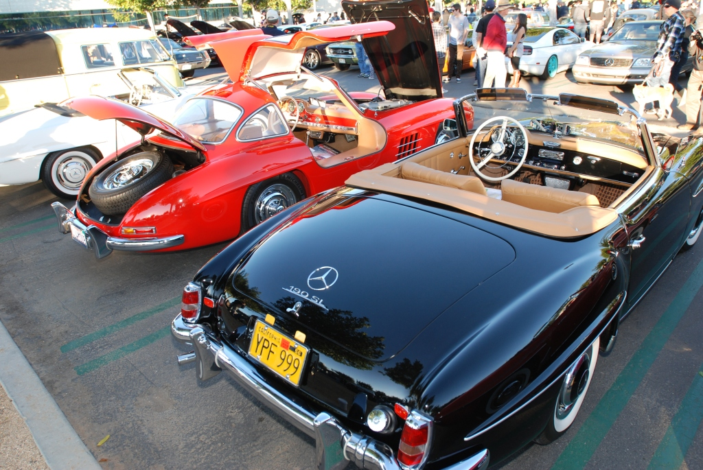Black Mercedes Benz 190 SL & Red 1955 MBZ 300 SL gullwing_Cars&Coffee/Irvine_1/28/12