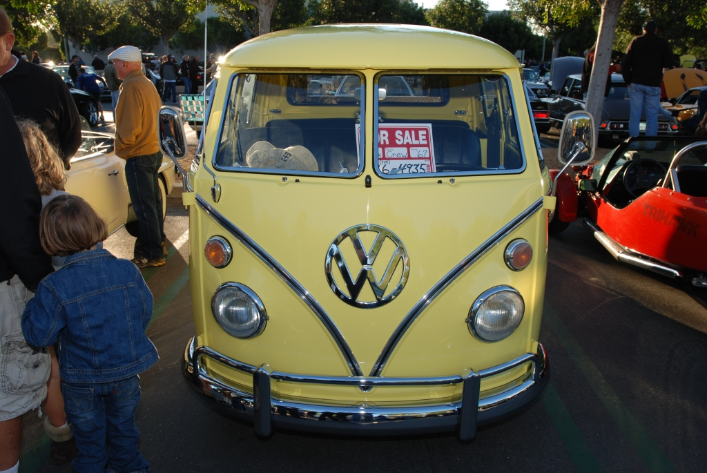 Yellow 1967 VW type 2 crew cab_Cars&Coffee/Irvine_1/28/12