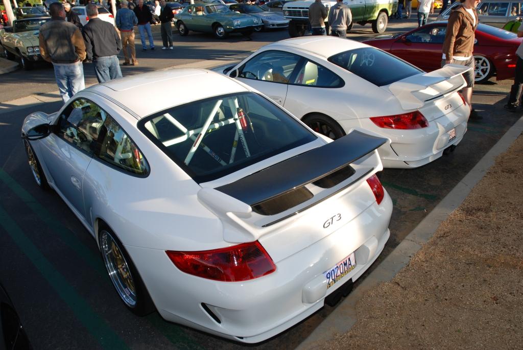 white Porsche 997 GT3's_Cars&Coffee/Irvine_1/28/12
