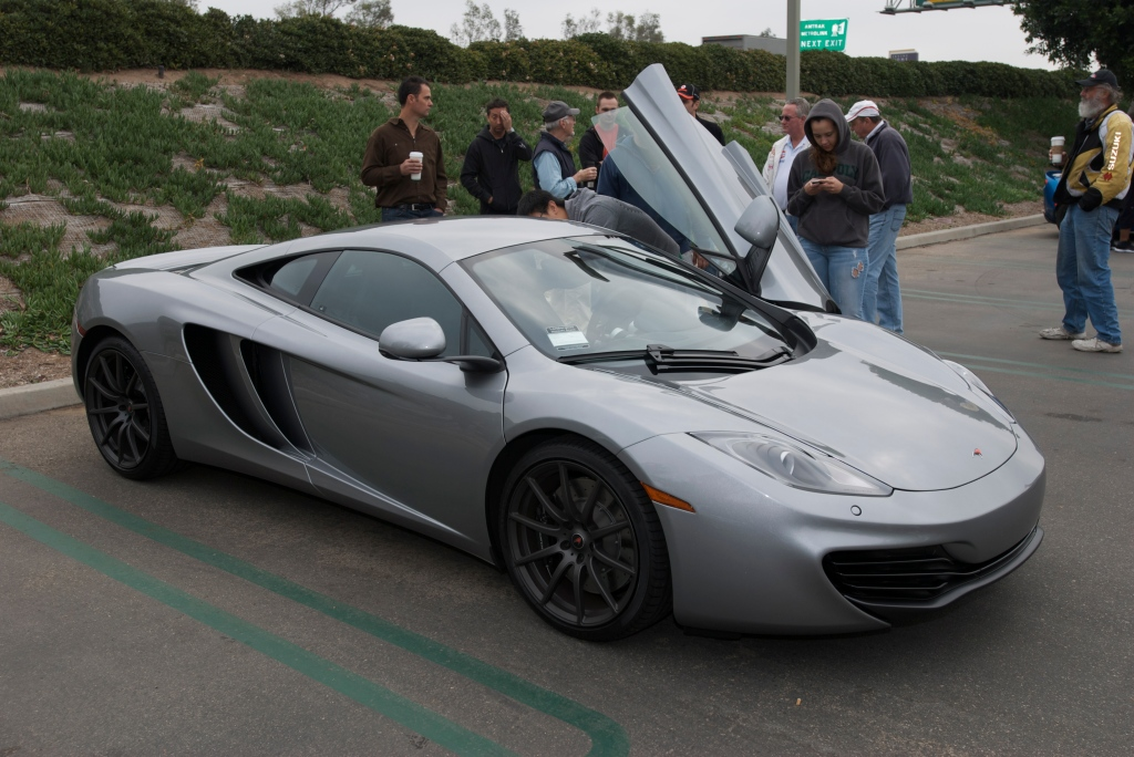 """McLaren Silver"" McLaren MP4-12C_w/""Stealth"" finish wheels_Cars&Coffee/Irvine_1/7/12"