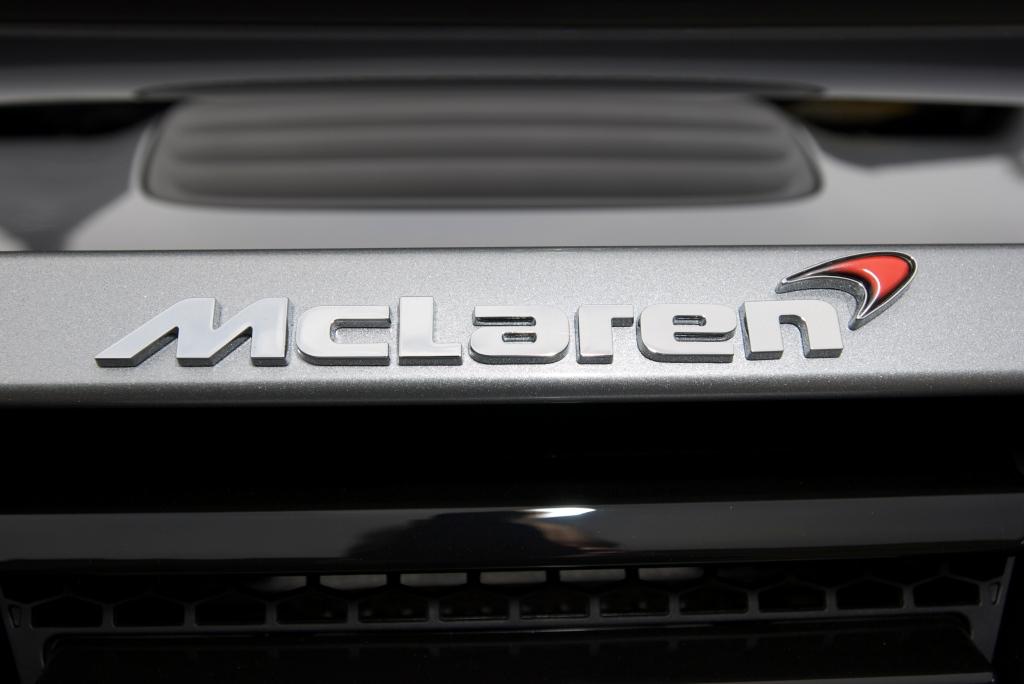 """McLaren Silver"" McLaren MP4-12C _rear deck emblem_Cars&Coffee/Irvine_1/7/12"