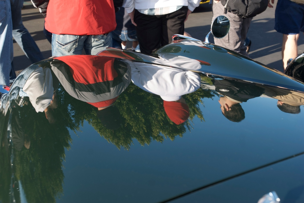 Jaguar XK roadster_hood reflections_Cars&Coffee/Irvine_12/31/11