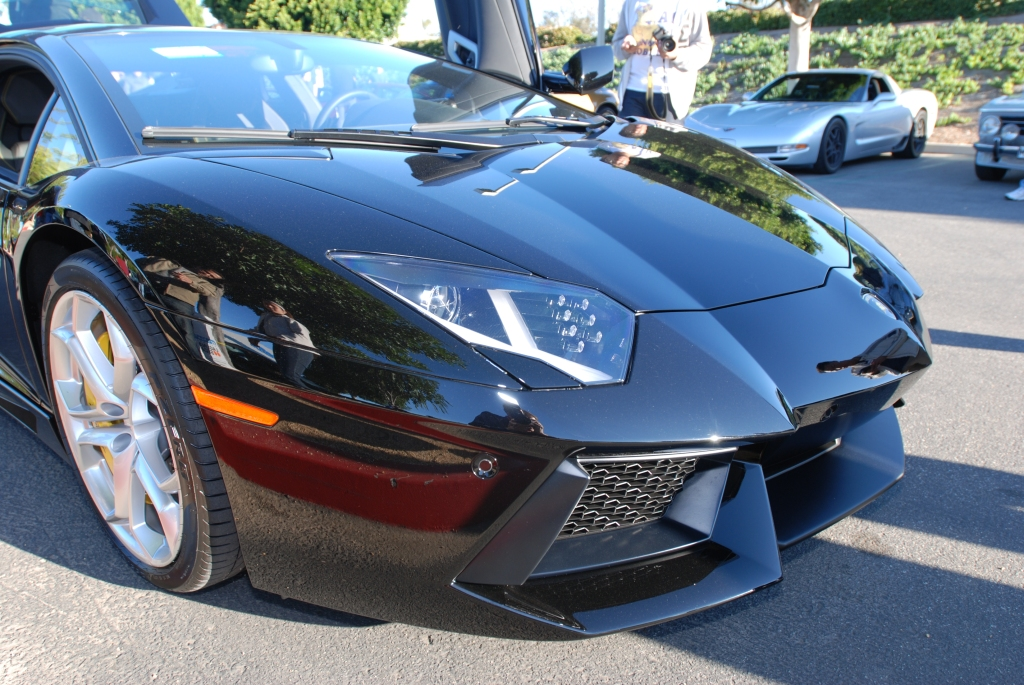 gloss black Lamborghini Aventador_Reflections_Cars&Coffee/Irvine_1/28/12