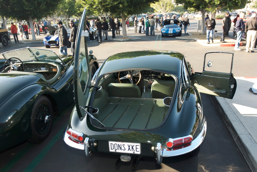 Jaguar E type 4.2 coupe_w/custom green leather interior_Cars&Coffee/Irvine_12/31/11
