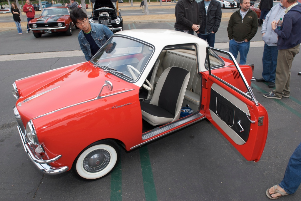 1958 Red & white Goggomobile_w/open suicide door_Cars&Coffee/Irvine_1/7/12