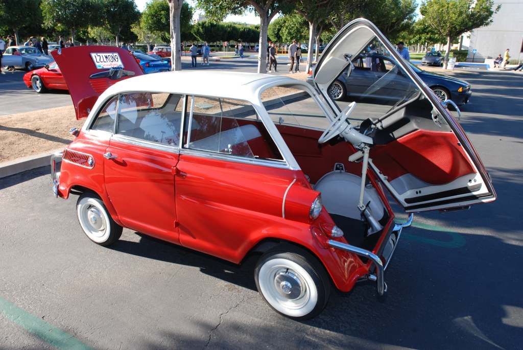 Red & white BMW Isetta 600_ front end opened up_Cars&Coffee/Irvine_1/28/12
