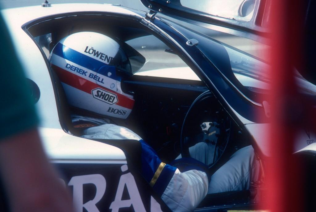 Derek Bell_#14 Lowenbrau Porsche 962_Riverside Raceway_Apr 86