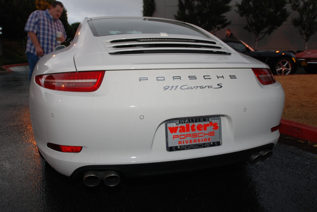 White 2012 Porsche 911 Carrera S (type 991)_rear shot_Cars&Coffee/Irvine_2/11/12