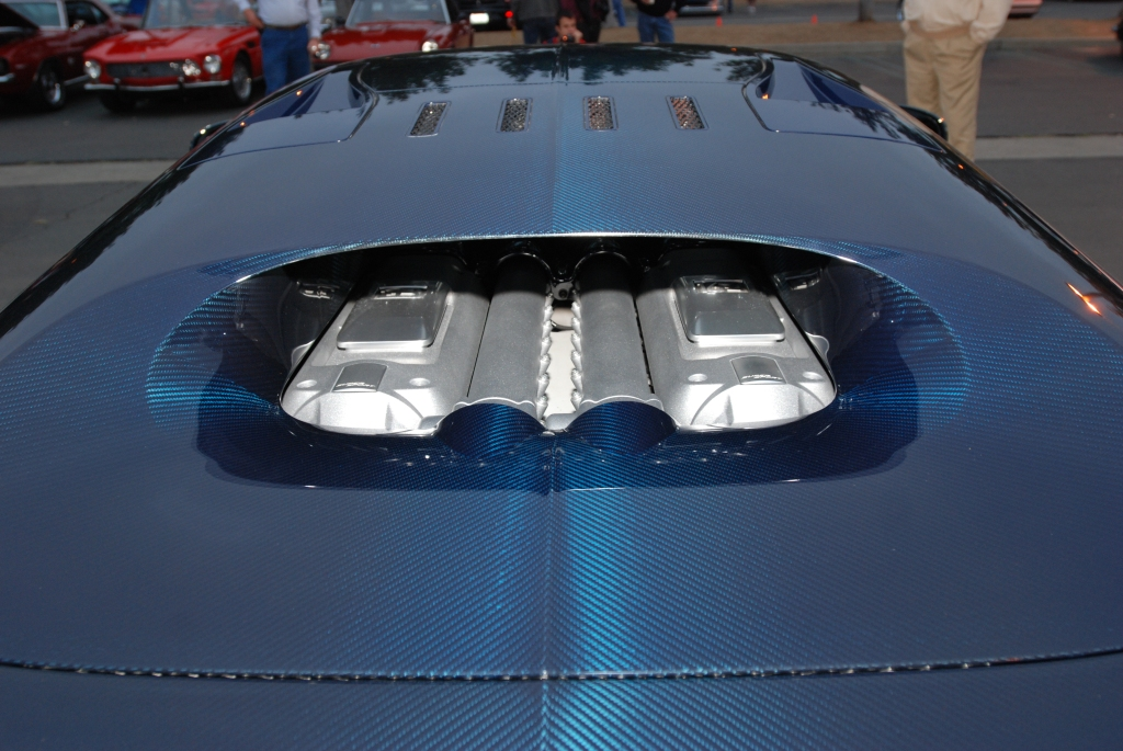 Dark blue tinted carbon fiber Bugatti Veyron Super Sport_rear view /motor_Cars&Coffee/Irvine_2/25/12