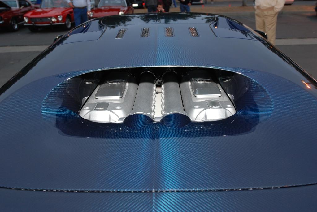 Dark blue tinted carbon fiber Bugatti Veyron Super Sport_rear view /motor_Cars&Coffee/Irvine_2/25/12