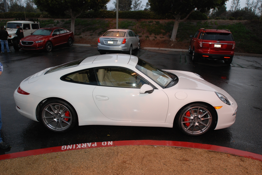White 2012 Porsche 911 Carrera S (type 991)_passenger side shot_Cars&Coffee/Irvine_2/11/12