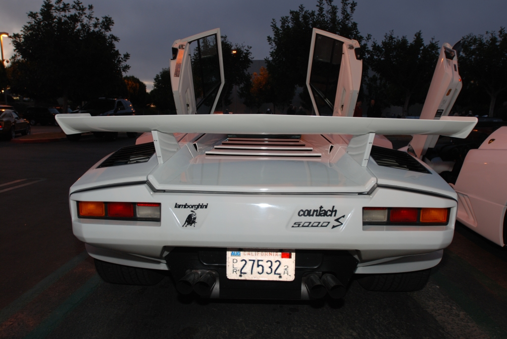 White Lamborghini Countach 5000 S _rear view_Cars&Coffee/Irvine_2/18/12