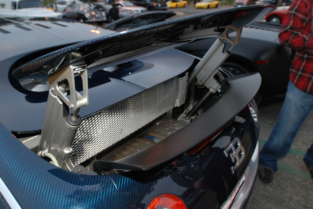 Dark blue tinted carbon fiber Bugatti Veyron Super Sport_rear wing details_Cars&Coffee/Irvine_2/25/12