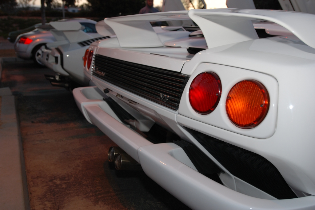 White Lamborghini Diablo VT roadster _3/4 rear,taillight view_Cars&Coffee/Irvine_2/18/12