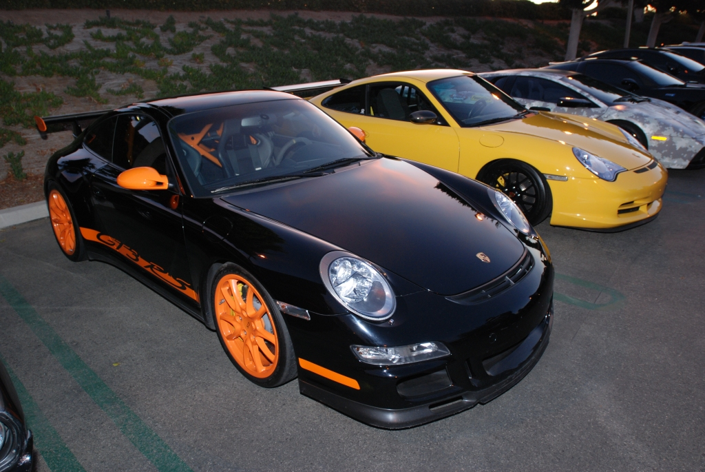 Black Porsche 997 GT3RS and yellow Porsche 996 GT3_Cars&Coffee/Irvine_2/4/12