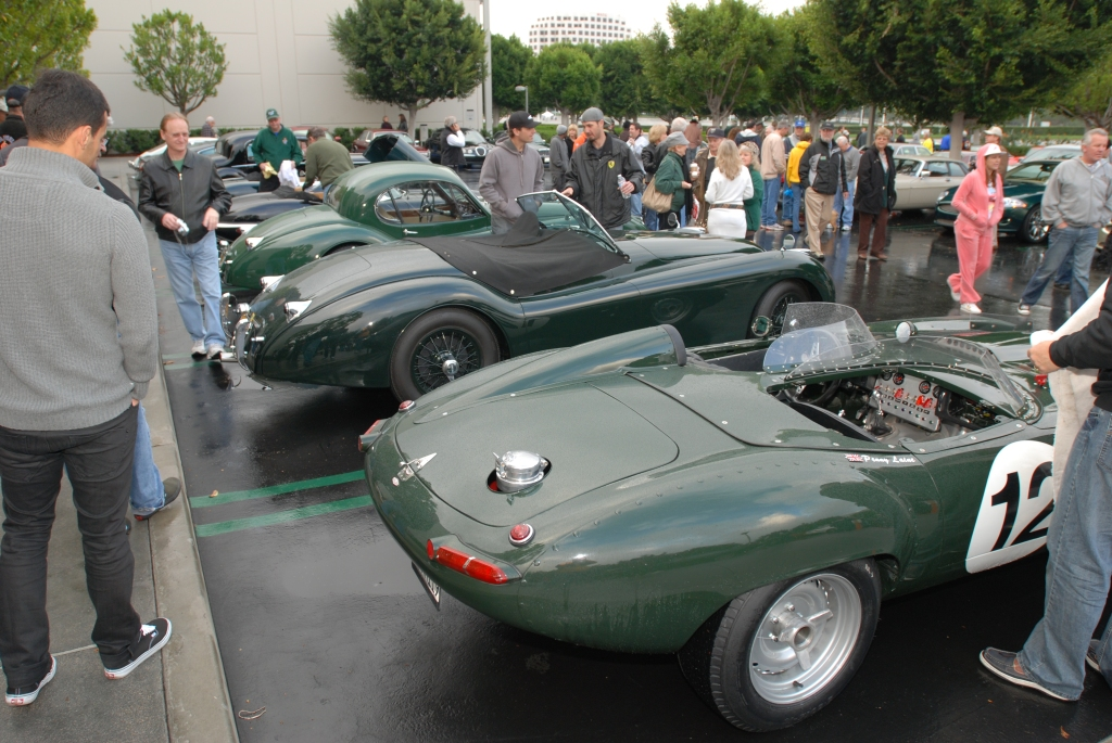 Green Jaguar E-Type roadster racer_Cars&Coffee/Irvine_2/11/12