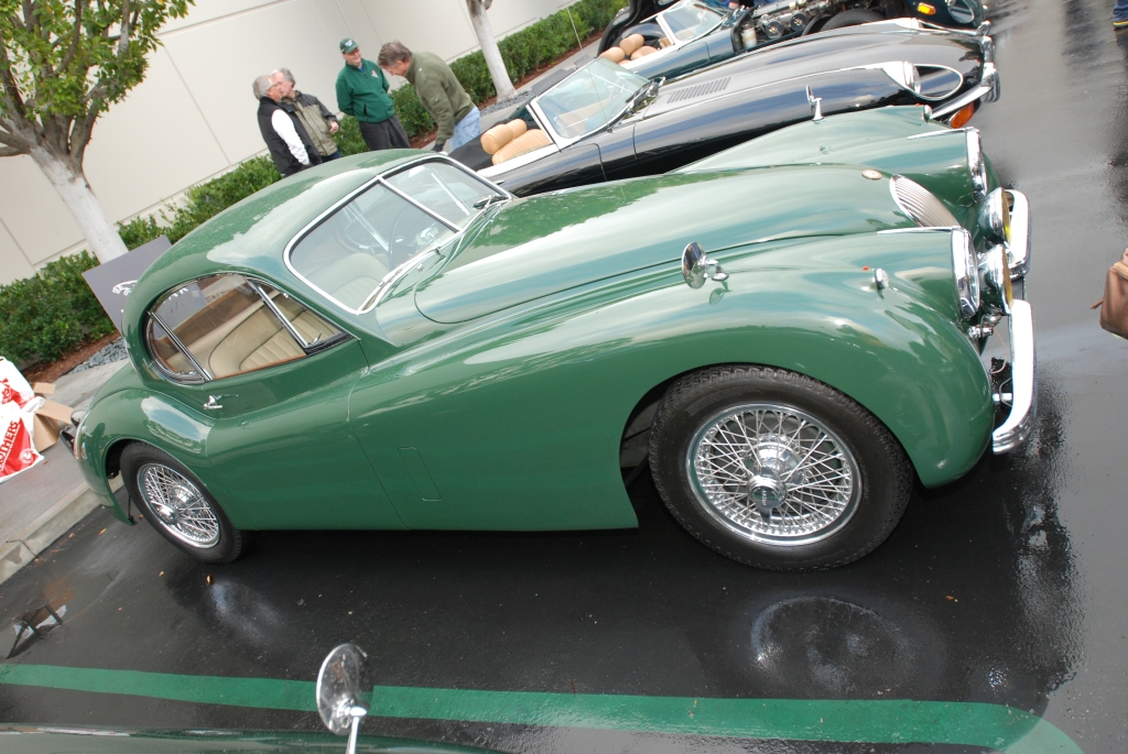 Green on tan, Jaguar XK coupe_Cars&Coffee/Irvine_2/11/12