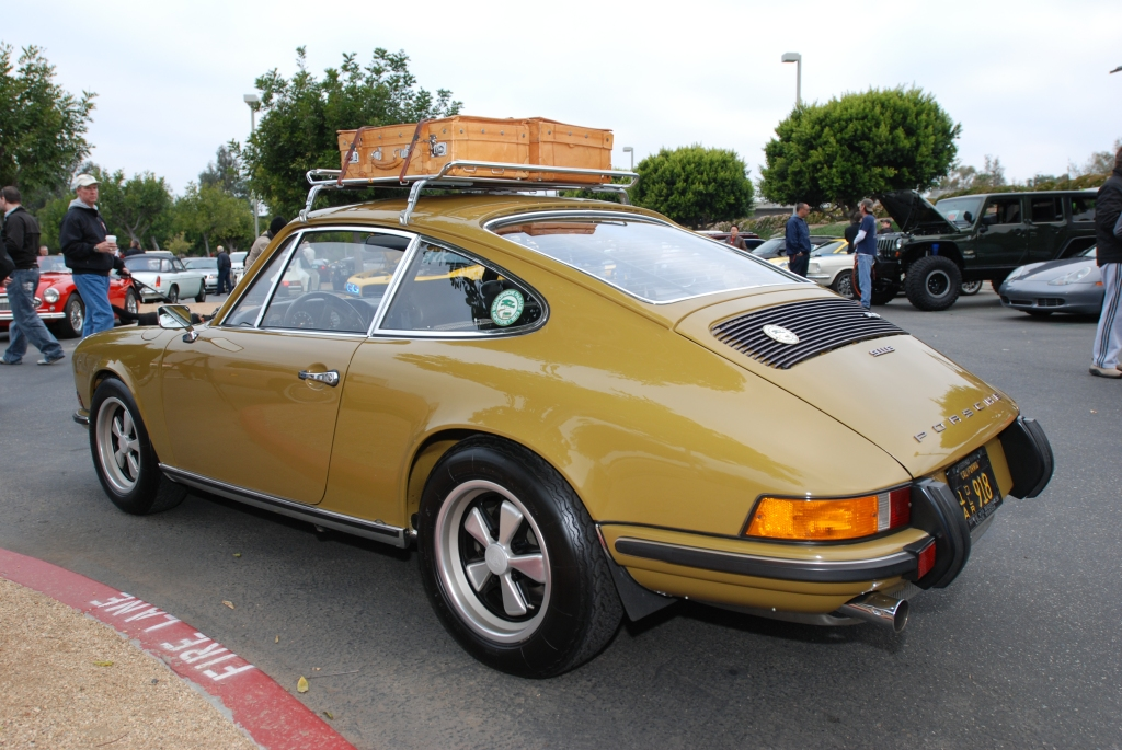 Olive 1973 Porsche 911E_ 3//4 rear view_Cars&Coffee/Irvine_2/25/12