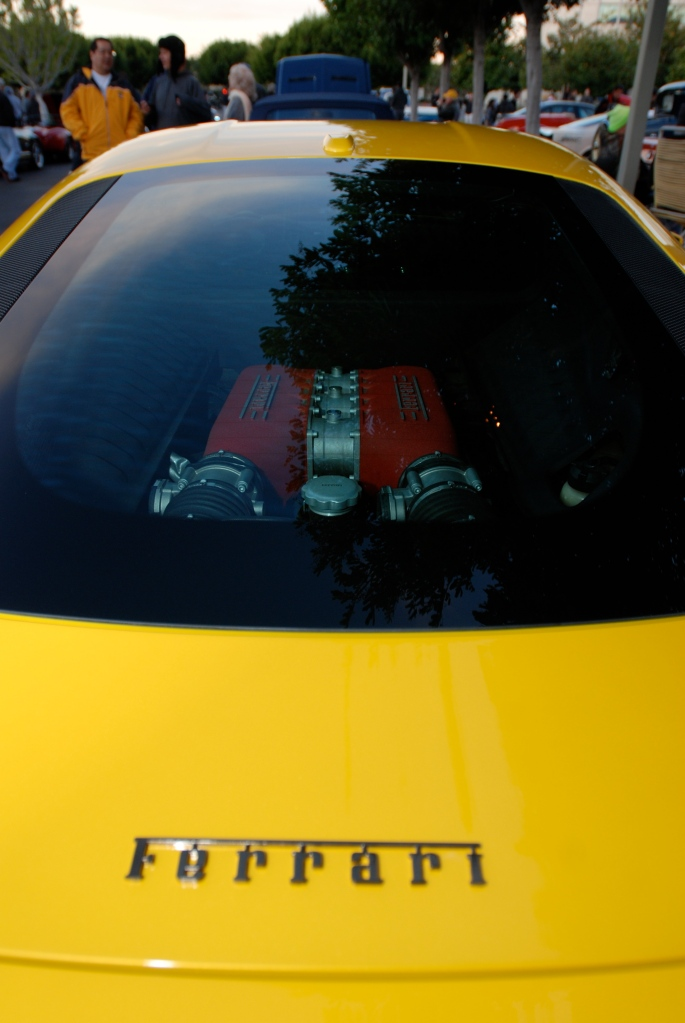 Yellow Ferrari 458 Italia_motor thru rear window_Cars&Coffee/Irvine_2/4/12