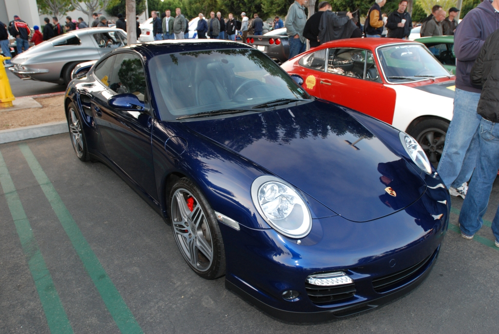 Blue Porsche 997 turbo_reflections_Cars&Coffee/Irvine_2/18/12