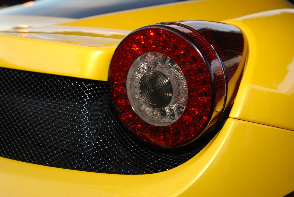 Yellow Ferrari 458 Italia_tail light detail_Cars&Coffee/Irvine_2/4/12