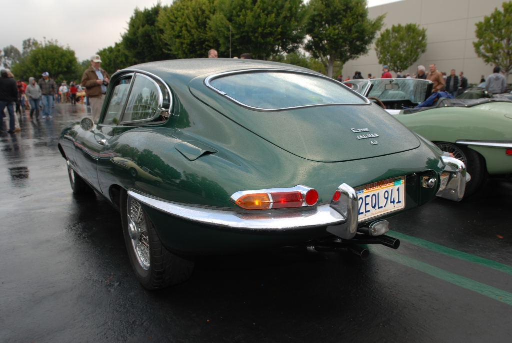 Green metallic Jaguar E type coupe_CArs&Coffee/Irvine_2/11/12