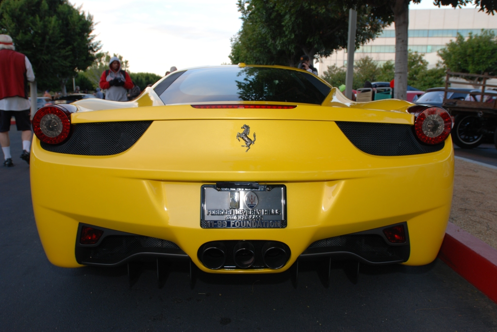 Yellow Ferrari 458 Italia_rear end shot_Cars&Coffee/Irvine_2/4/12
