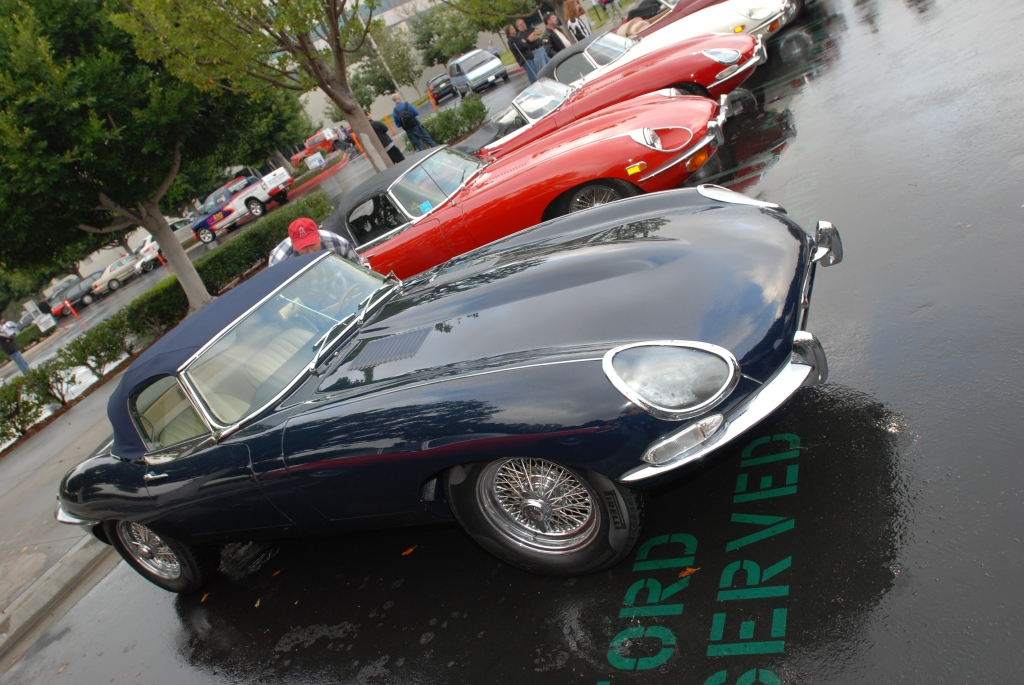 Dark blue on linen E type roadster_E Type row_Cars&Coffee/Irvine_2/11/12