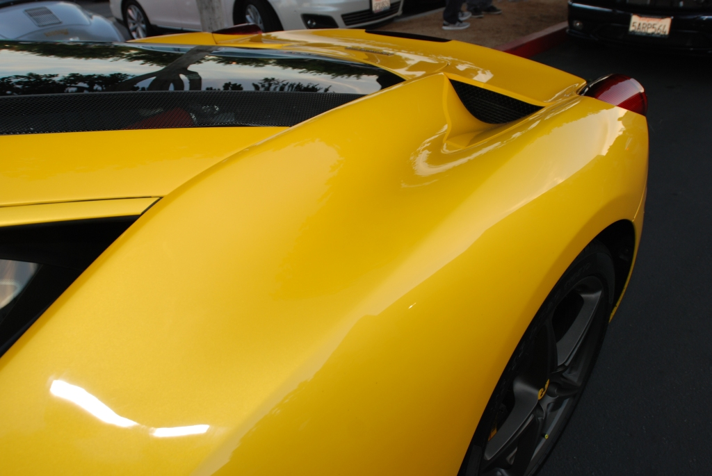 Yellow Ferrari 458 Italia_rear fender detail_Cars&Coffee/Irvine_2/4/12